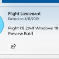 Windows 10 Insider Achievements Badge – 20H1 Build Flight Lieutenant have been released